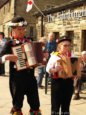 Morris men Oakworth Haworth Yorkshire melodeon accordion