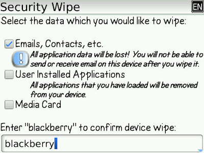 Blackberry : How do i wipe the Blackbery Handheld