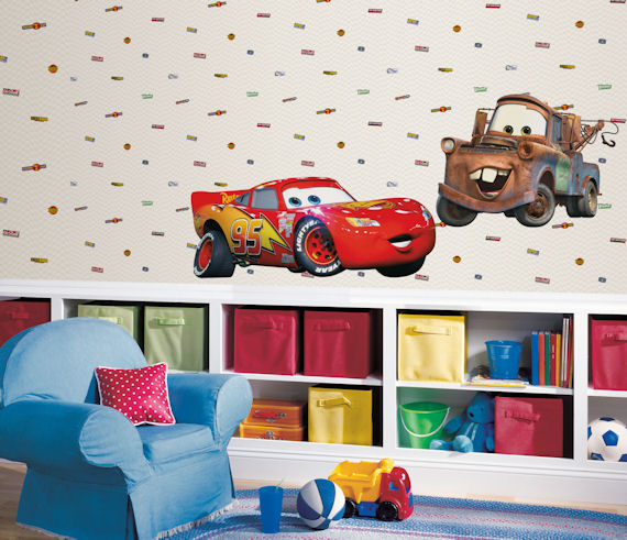 Pair the Disney Cars wall paper selection with the giant Lightning McQueen