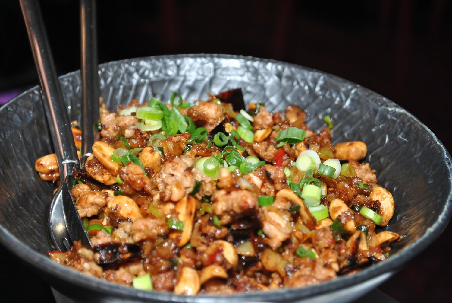 "Stir fried quail and peanuts with steamed egg custard - ""spicy ..."