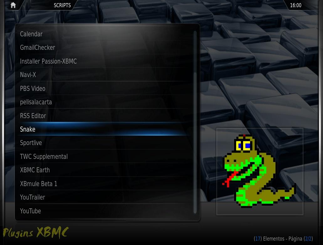 Juego Snake para XBMC