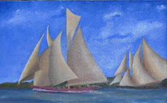 Regatta.  5 x 8 Oil on Cedar board