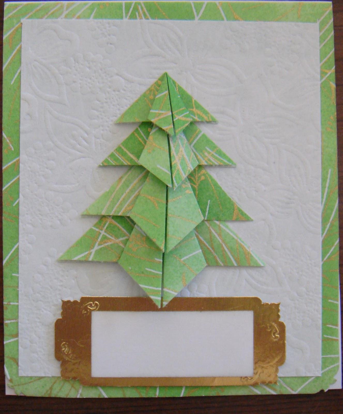 Tarjetas navide as con rbol de navidad de origami - Arbol de navidad origami ...
