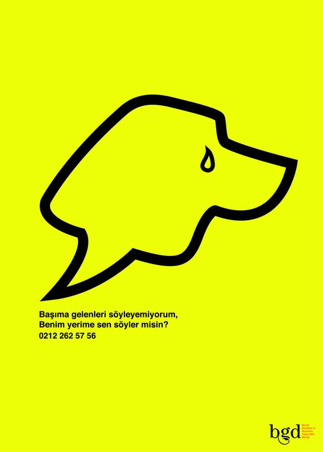 Hayvan hakları ile ilgili sosyal içerikli afiş