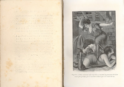 Illustration, woman on floor facedown, second woman standing with whip