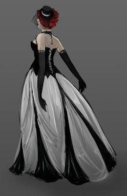 quick sketch of a design for a gothic wedding gown