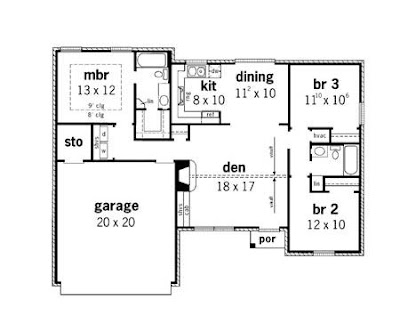Cottage Style House Plans - 940 Square Foot Home , 1 Story, 2