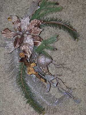 Also use one long silver glittery fern leaf