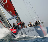 Team New Zealand prepares to round the windward mark.