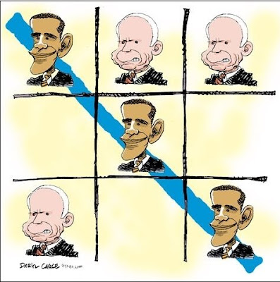 A noughts and crosses game featuring the faces of Obama and McCain. Each has three squares covered. A very angry-looking McCain has his squares randomly positioned around the board, whereas Obama's are in a neat diagonal, with a blue line drawn through them to signify that the game has been won.