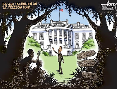 Obama waves to a black family hiding amongst the trees as he walks across the lawn to the White House. Signposts point backwards towards 'Jim Crow', 'Segregation', and 'Slavery'. The caption reads 'The final destination on the Freedom Road...'