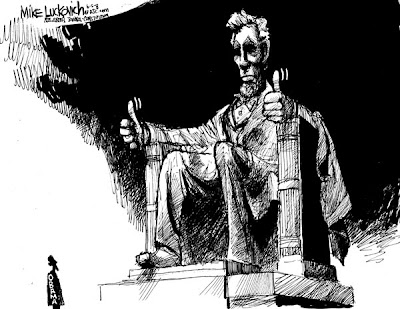 President Obama cartoon: The Lincoln Memorial statue gives two thumbs up to the tiny figure of Barack Obama standing in front of it.