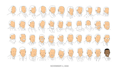 President Obama cartoon: Head and shoulders sketches of the first 43 US Presidents - white men all - contrasting with the smiling brown face of the 44th. The caption reads 'November 4, 2008'.