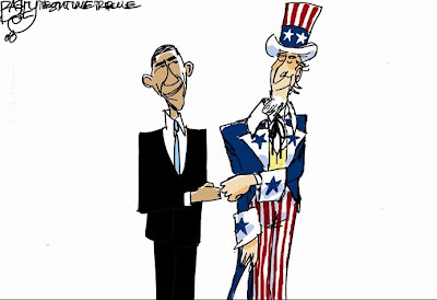President Obama cartoon: Obama and Uncle Sam do a fist-bump.