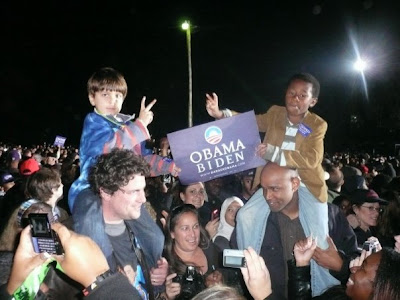 Victory to Obama! Hey - you wanna come and play at my house after the rally? Quick - get your dad to ask my dad if it's OK...