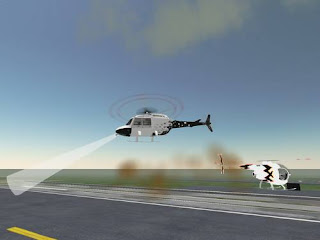 Cyberspace-3d virtual reality - helicopter in flight off the ground