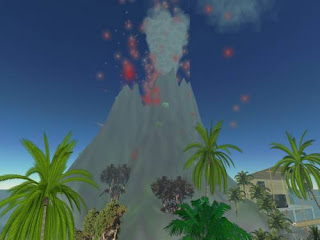 second life - volcano erupting on vacation resort