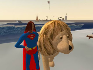 second life - lion on the beach