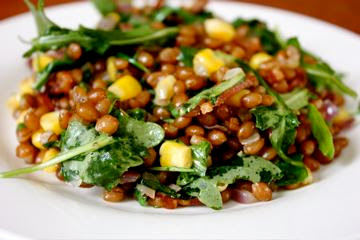 ... Private Kitchen: Winter Wheat Berry Salad with Bacon, Corn and Arugula