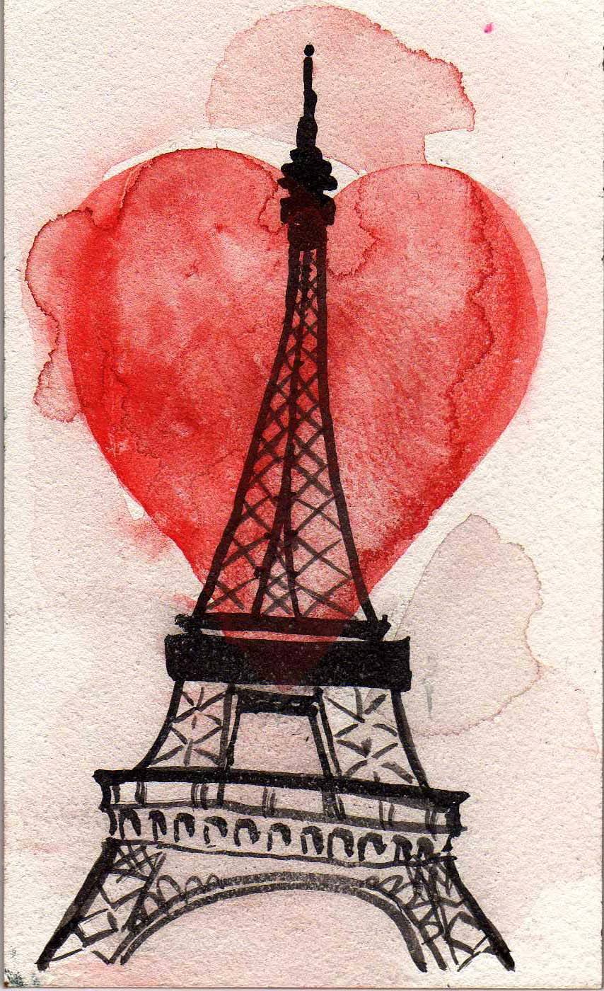 Eiffel Tower and Hearts Painting