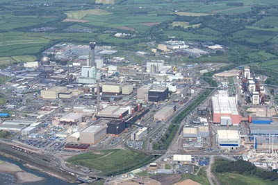 Sellafield nuclear reprocessing pant in Cumbria, UK, from the air