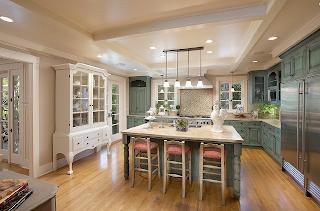 Fauna decorativa isla de cocina como mesa kitchen for Craftsman house plans with interior photos
