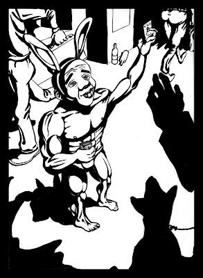 Ilustracion del Conejo Blanco de Alicia en el pais de las maravillas de Lewis Carroll, dibujo pin up del personaje