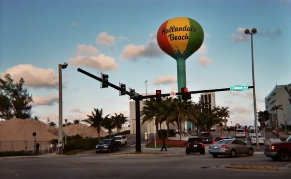 Hallandale Beach's iconic beachball-colored Water Tower, between beach and A1A/South Ocean Drive
