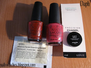 opi hoodoo voodoo?! pink nail polish vould you like a lick-tenstein? red golden shimmer opi nail polish RAOK nailswatches