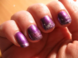 Funky French gone bad nailart china glaze coconut kiss harmony french stickers guidelines purple frost nailswatches