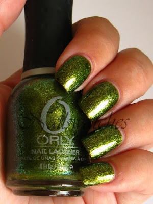 orly it's not rocket science cosmix cosmic fx fall 2010 nailpolish nails green murky base nails nailswatches zomie zest dupe china glaze sparitual optical illusion
