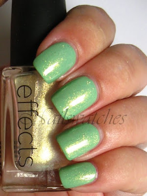 cnd jade sparkle topcoat topper layering over opi damone roberts 1968 limited edition mint green creme nail polish nailswatches