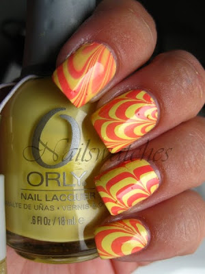 watermarble marble nails nailart orly sweet spring 2010 collection pastel pink pixy stix lemonade yellow creme nail polish nailswatches
