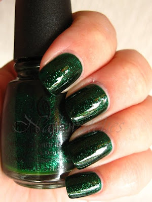 china glaze emerald sparkle green glitter jelly base nail polish permanent collection nailswatches