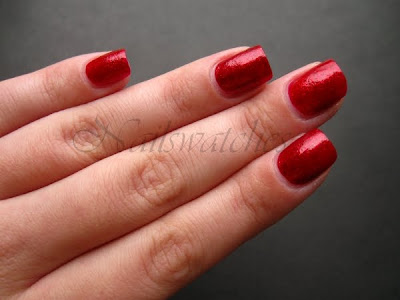 comparison between opi smitten with mittens swm and china glaze ruby pumps red glitter jelly base nail polish nails nailswatches compared