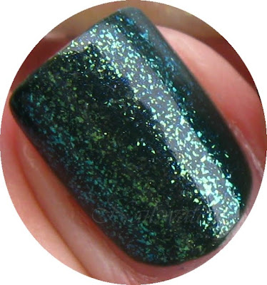 cnd creative nail design effects polish teal sparkle topcoat layering over orly enchanted forest nail polish nailswatches