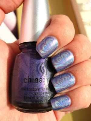 konadicure china glaze chg 2nite lol stamping imageplate m63 purple blue holographic nail polish nailswatches