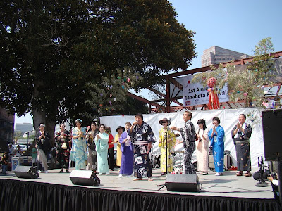 Karaoke group performs on stage at the Los Angeles Nisei Week Festival