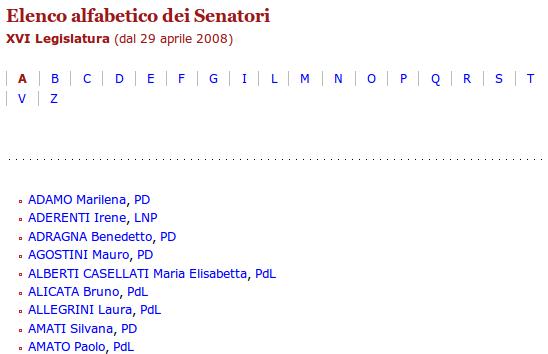 Il nome va prima del cognome aprile 2010 for Elenco senatori