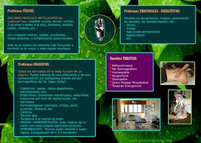 diseño de folleto Salud Cuerpo Mente, Cara B (ver)