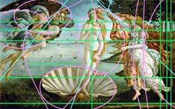 esbozo rápido de posibles líneas y ejes en El Nacimiento de Venus