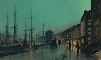 Atkinson Grimshaw (45 años) - Barcos en el río Clyde (Shipping on the Clyde, 1881)