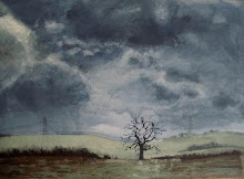 Tree in stormy landscape