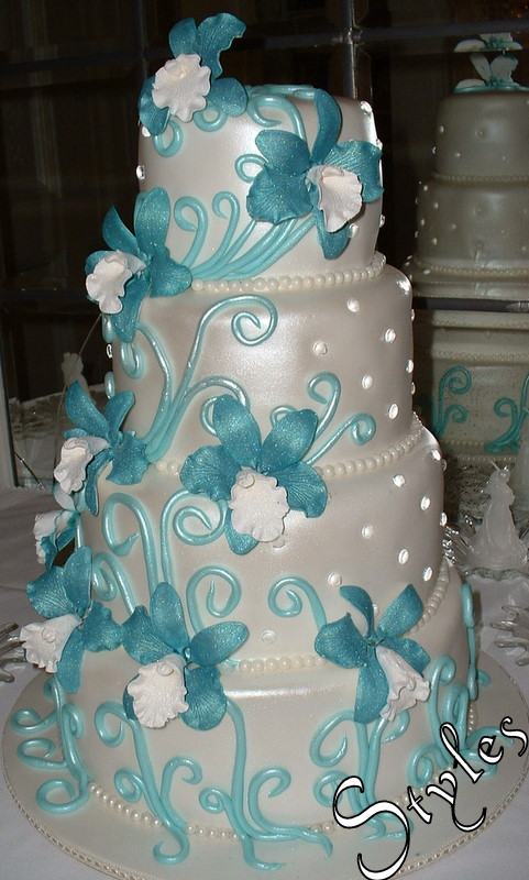 Terasas Blog 6 Tier Square Wedding Cake With Turquoise Blue