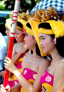 Balinese Girls in Traditional Sarong