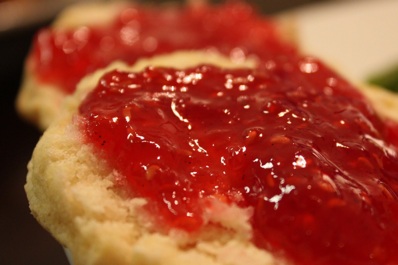 Raspberry Strawberry And Vanilla Bean Jam | Dark Brown Hairs