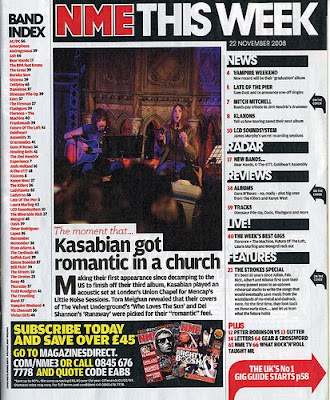 The contents page of NME is spread our very well which gives the readers a