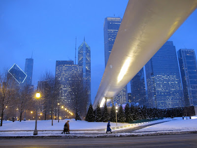 Renzo Piano bridge Chicago winter