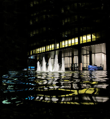Mies van der Rohe Seagram Building Manhattan New York City night view with water pools fountain reflection