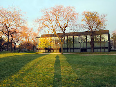 Crown Hall Chicago Mies IIT west facade at sunset with shadows